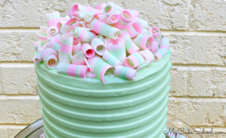 Colorful Striped Chocolate Curls- Cake Tutorial