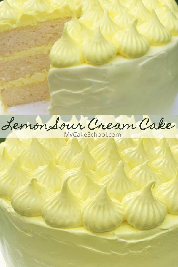 This Lemon Sour Cream Cake with Lemon Seven Minute Frosting is amazing!