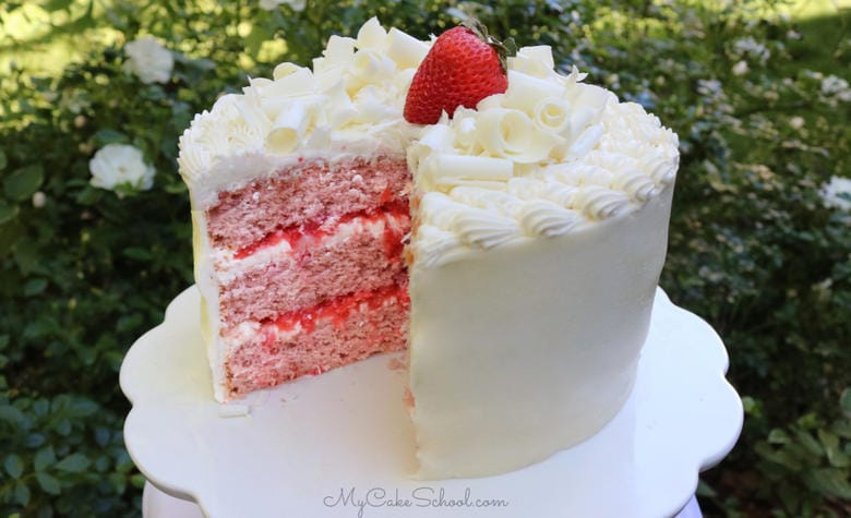 Strawberry Sour Cream Cake with White Chocolate Buttercream