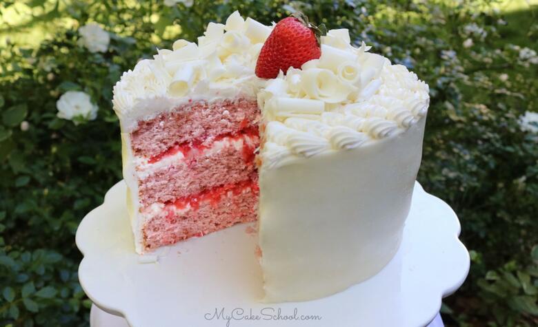 Strawberry Sour Cream Cake with White Chocolate Buttercream