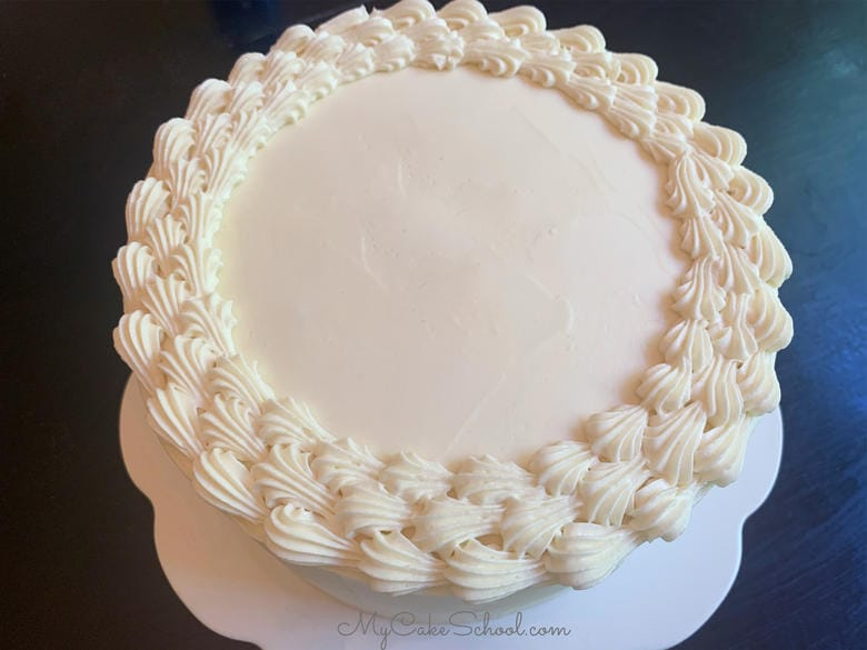 White Chocolate Frosting with piping for our White Chocolate Strawberry Cake