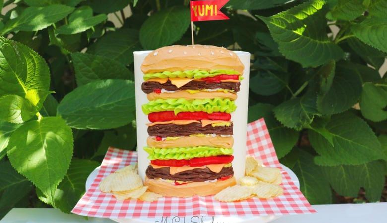 Easy Cheeseburger Cake Tutorial