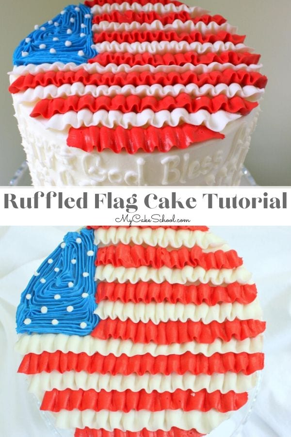This sweet and simple Buttercream Ruffled Flag Cake design is perfect for patriotic gatherings!