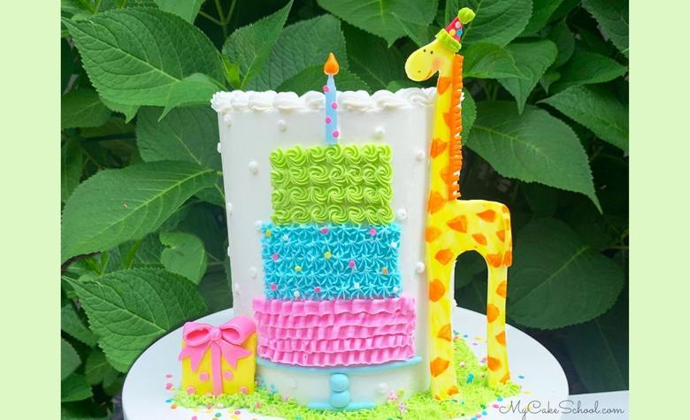 Sweet Giraffe and Birthday Cake- A Free Cake Decorating Tutorial