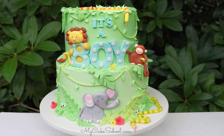 Cute Safari Baby Shower Cake Tutorial
