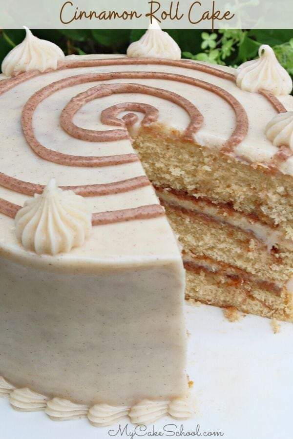 Cinnamon Roll Layer Cake- This recipe is super moist and has wonderful flavor!