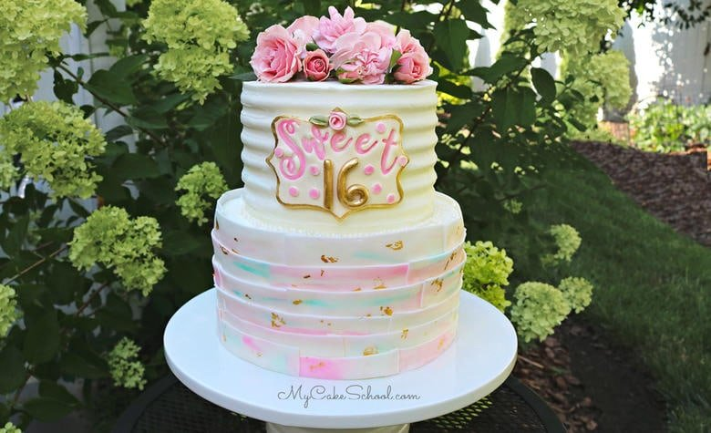 Sweet Sixteen Cake Tutorial- My Cake School (member section)
