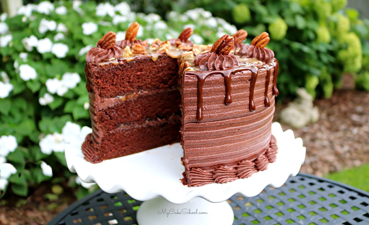 This Chocolate Turtle Cake Recipe is the BEST! So decadent and delicious!