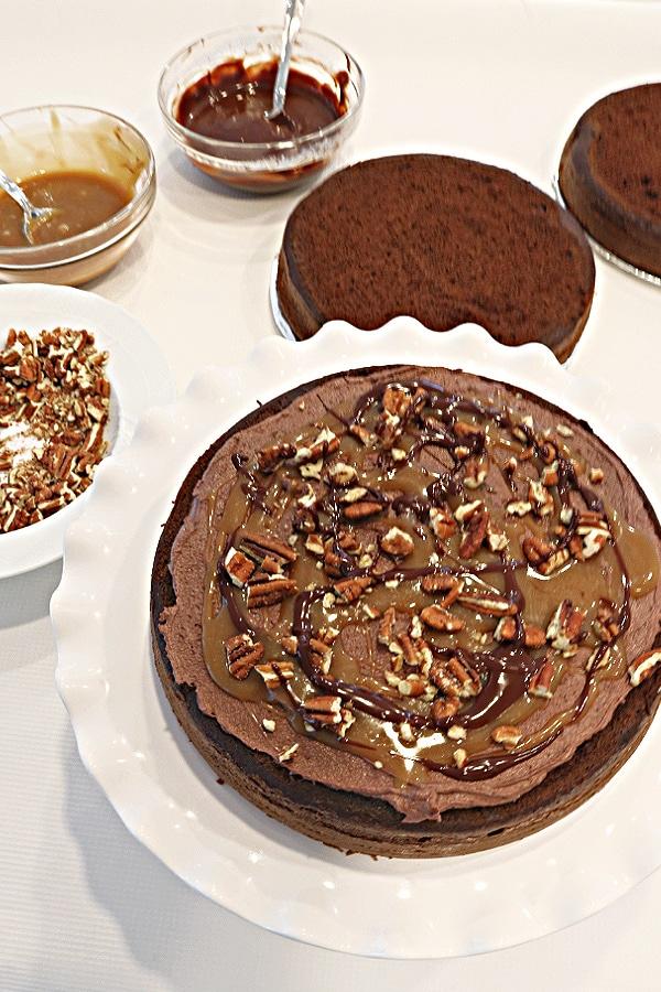 Chocolate Turtle Cake Recipe- This layer cake is so decadent!
