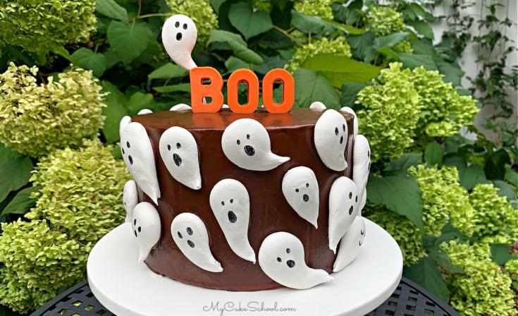 Meringue Ghosts Cake- A Free Cake Decorating Tutorial