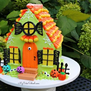 This candy Haunted House Cake is so much fun for Halloween parties!