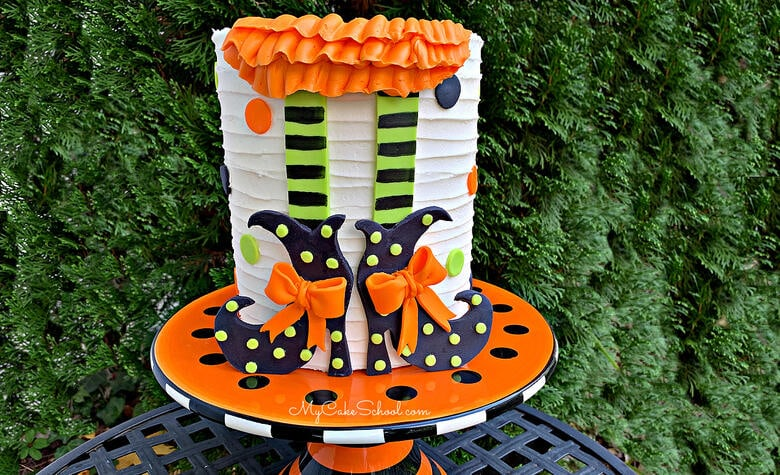 Learn how to make this CUTE and easy Witch Shoes Halloween Cake in our free cake video tutorial!