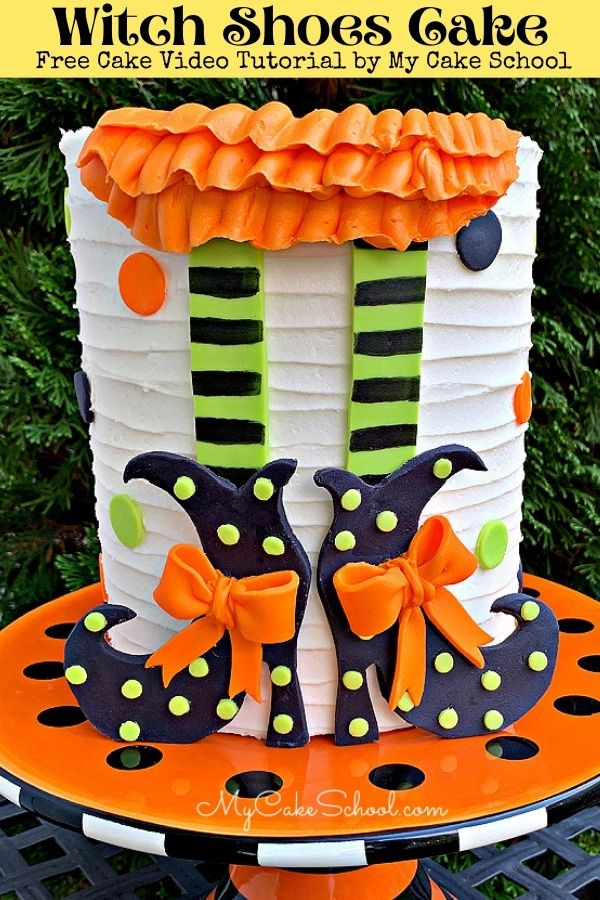 Witch Shoes Cake- A Free Cake Video Tutorial! This fun cake is perfect for Halloween parties!