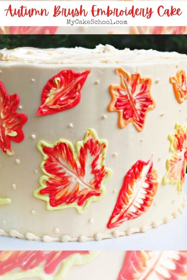 Autumn Leaves Brush Embroidery Cake