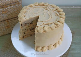 Moist, Delicious Banana Chocolate Chip Cake with Peanut Butter Frosting