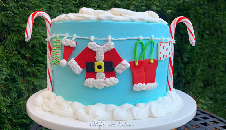 Santa's Clothesline Cake- A Cake Decorating Video Tutorial