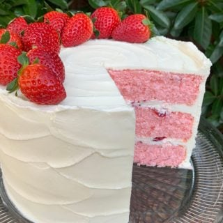 Delicious Strawberry Champagne Layer Cake