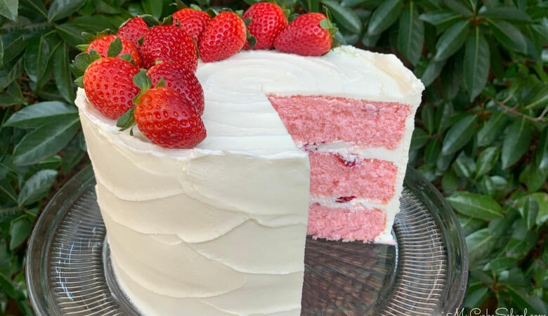 Strawberry Champagne Cake- A Doctored Cake Mix