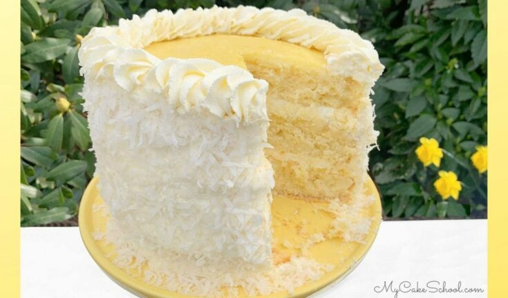 Lemon Coconut Cake with Lemon Curd Filling and Whipped Coconut Cream Cheese Frosting