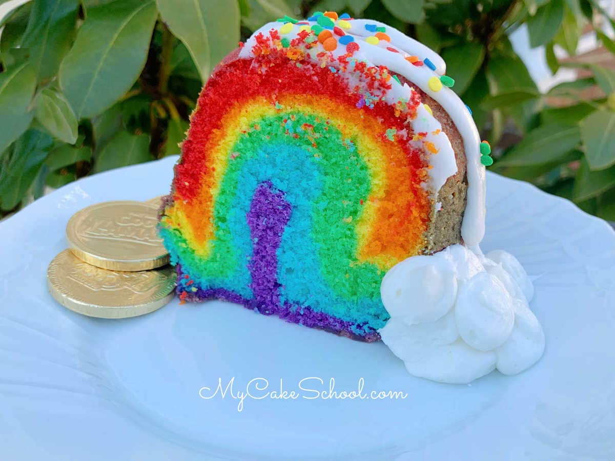 Rainbow Pound Cake - So cute, easy, and delicious!