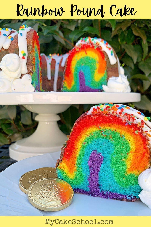 Rainbow Pound Cake Recipe and Free Tutorial!
