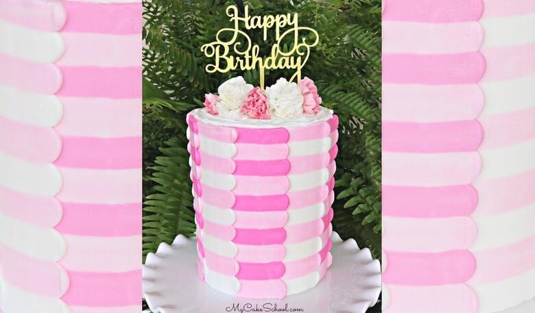 Pretty Striped Buttercream Panel Cake