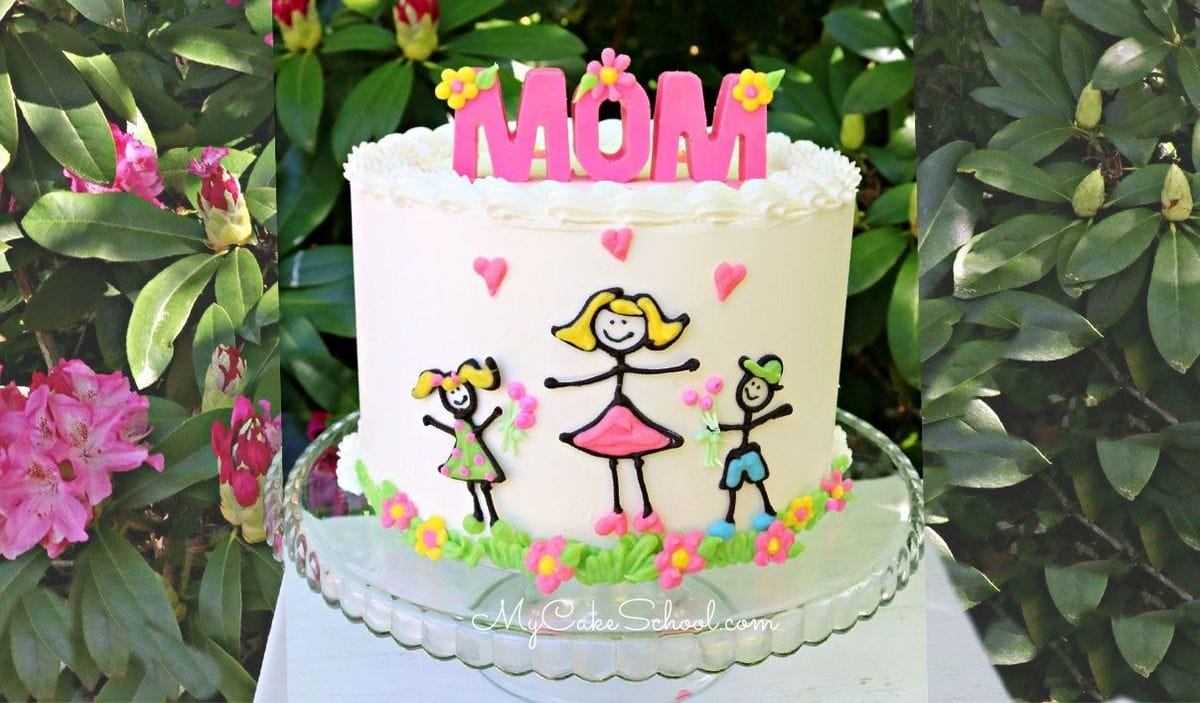Mother's Day Stick Figure Cake