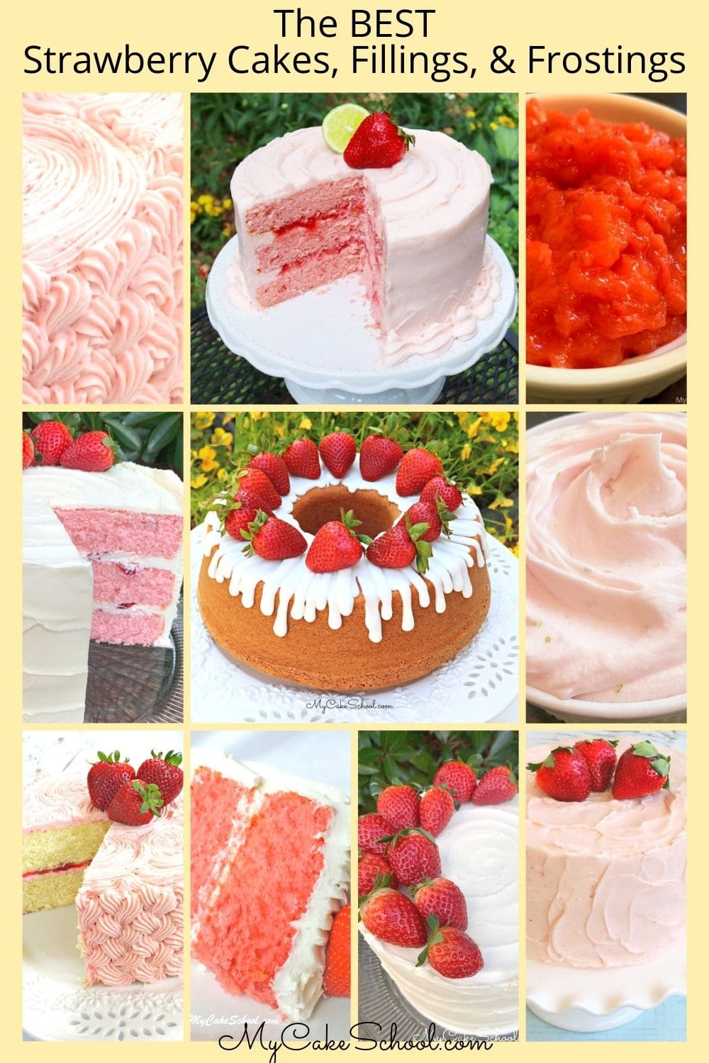 Favorite Strawberry Cakes, Fillings, and Frostings
