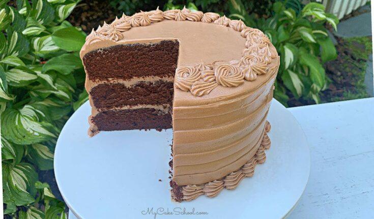 Moist Dark Chocolate Layer Cake from Scratch with Chocolate Cream Cheese Buttercream! SO good!