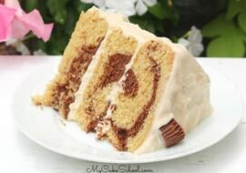 Moist Peanut Butter Chocolate Marble Cake