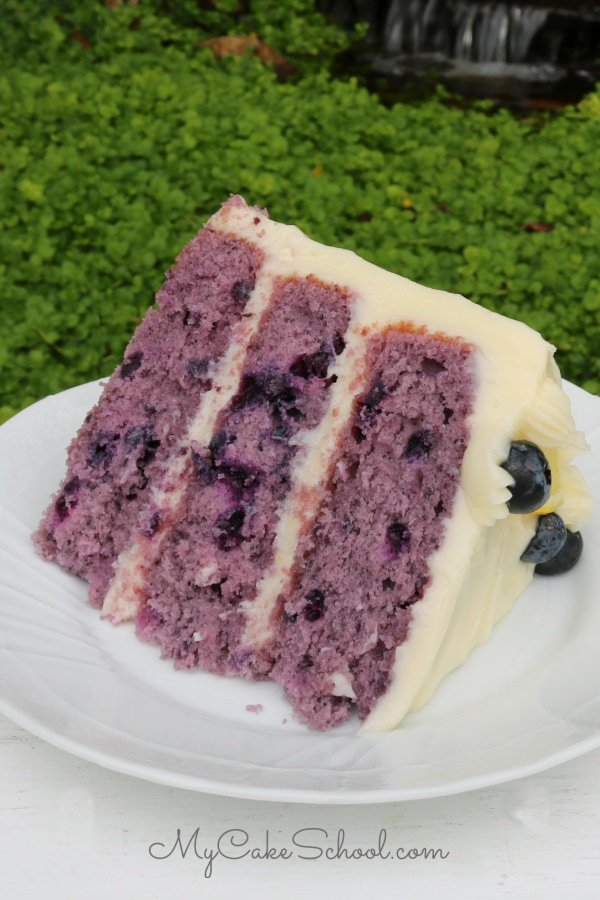 Moist and Delicious Homemade Blueberry Layer Cake with Lemon Cream Cheese Frosting