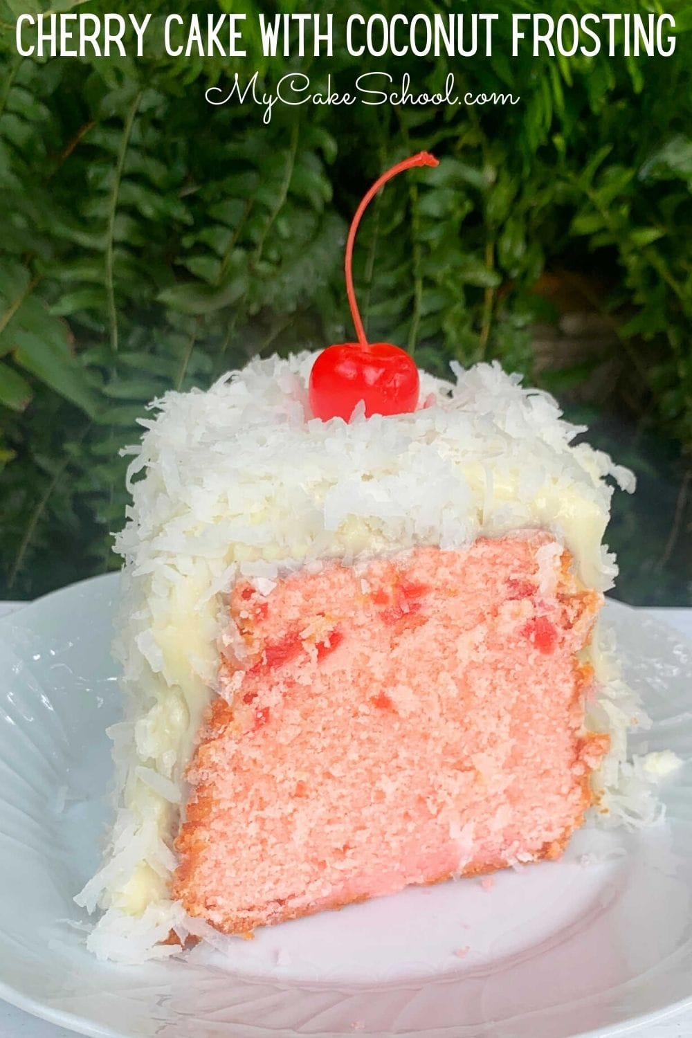 Cherry Pound Cake with Coconut Frosting