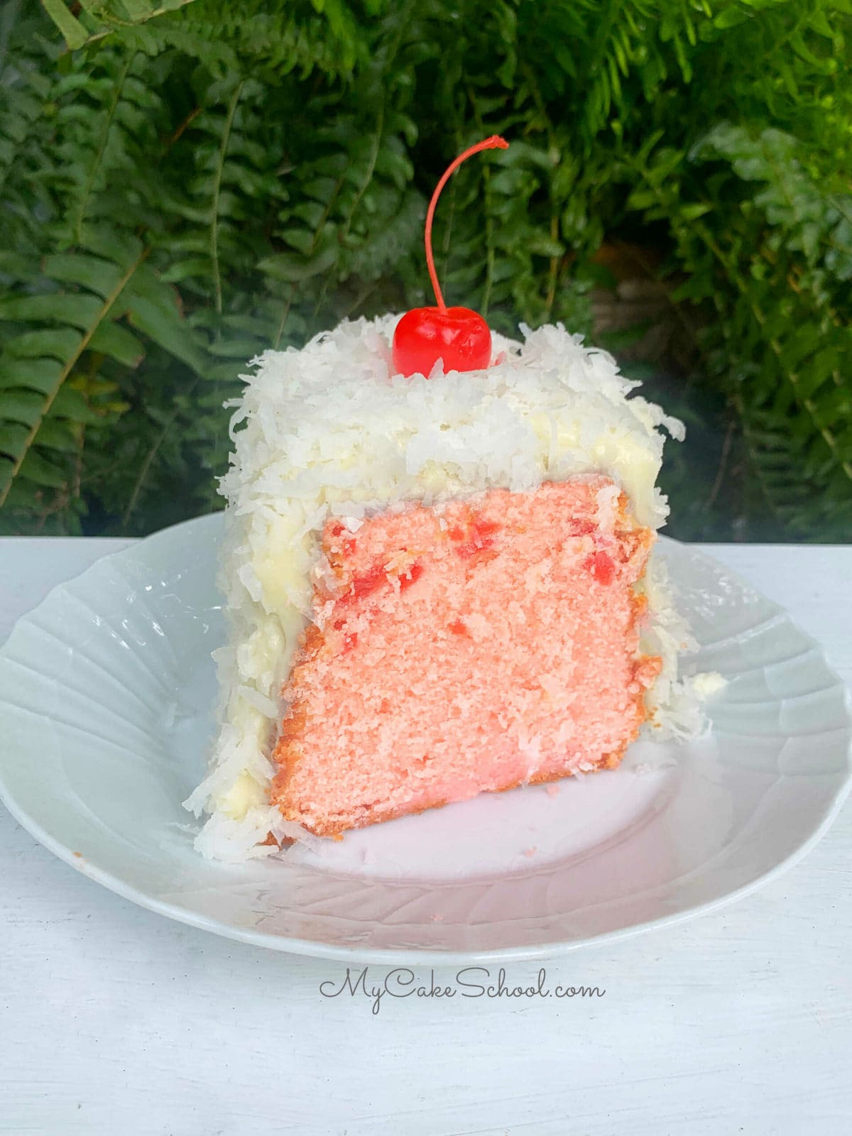 Moist Cherry Pound Cake with Coconut Cream Cheese Frosting