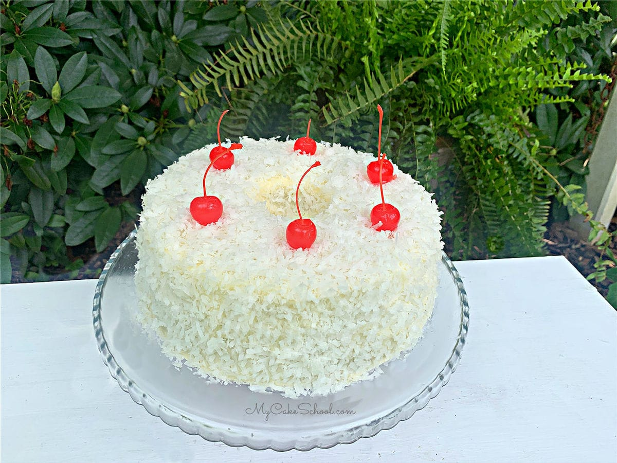 The BEST Cherry Pound Cake with Coconut Frosting