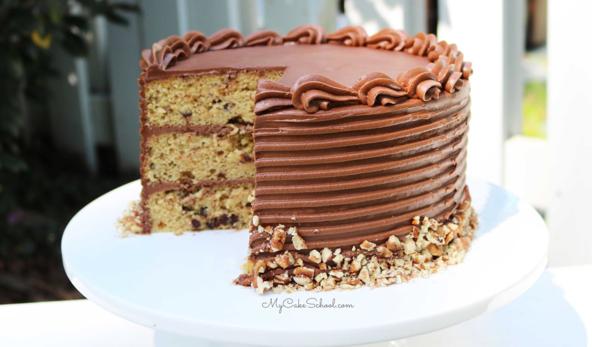 This Chocolate Chip Pecan Cake Recipe is SO moist and easy to make!