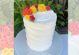 Beautiful Buttercream Wave Cake with Chrysanthemums