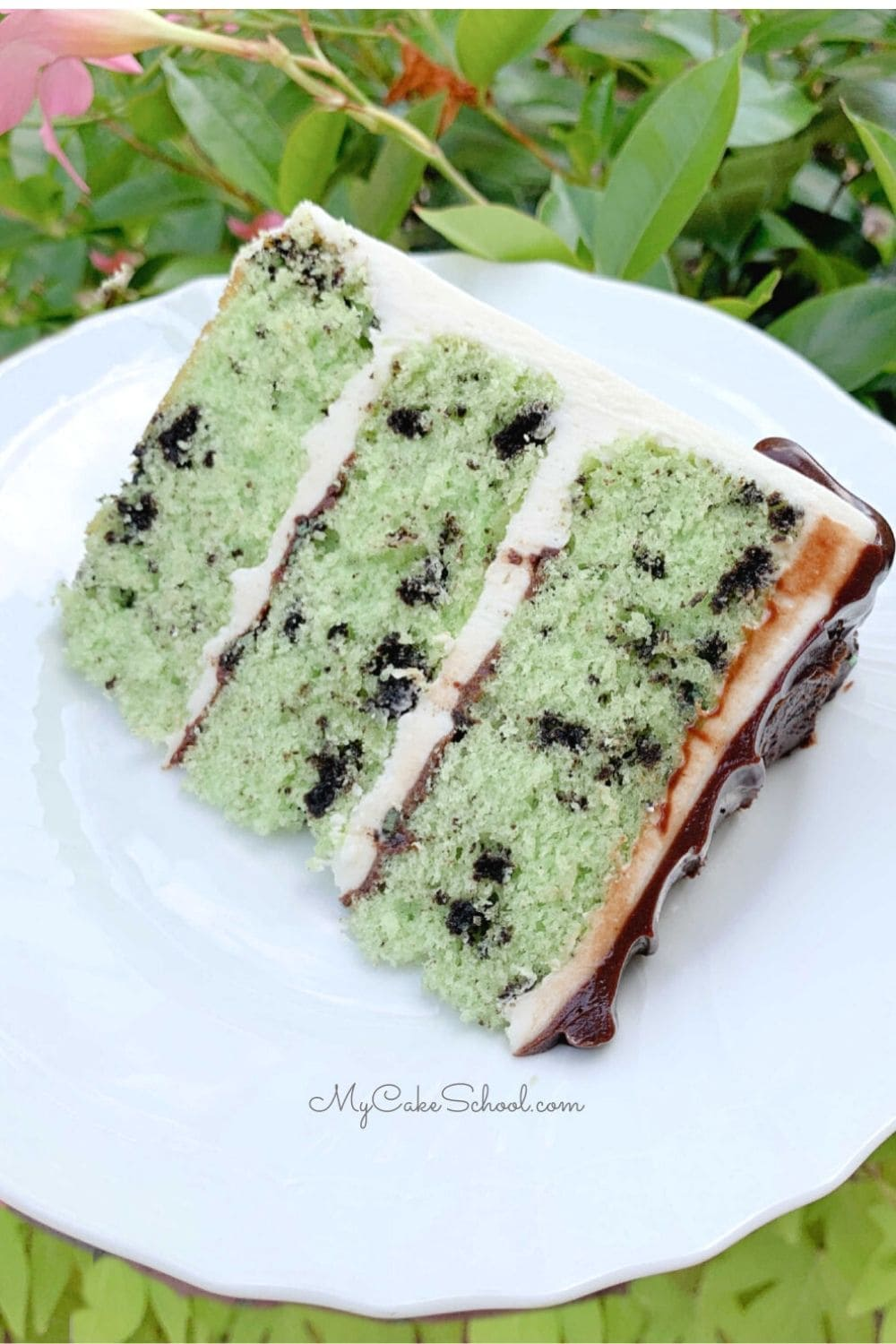 Mint Oreo Layer Cake- This homemade layer cake is so moist and flavorful!